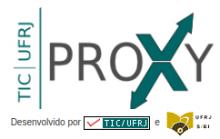 """Logo PROXY – no lado esquerdo a descrição """"TIC-UFRJ"""" na cor verde, escrito na horizontal de baixo para cima. Ao lado a descrição """"PROXY"""" na cor preta com a letra """"X"""" na cor verde. A letra """"X"""" possui na sua ponta superior direita uma seta apontando para cima e ponta inferior esquerda uma outra seta apontando para baixo."""
