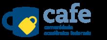 Logo cafe - uma caneca azul com um cadeado amarelo, ao lado a descrição cafe - comunidade acadêmica federada