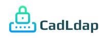Logo CADLDAP – ícone de um equipamento de rede com um cadeado sobre ele, na cor degradê azul com verde. Ao lado a descrição CadLdap na cor verde-escuro.