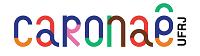 """Logo CARONAÊ – a descrição """"caronaê"""" escrito em letras minúsculas multicoloridades."""