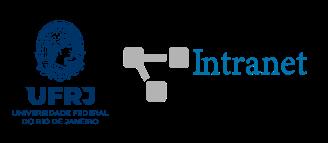 Logo minerva ufrj faz cem anos e logo intranet ufrj com símbolo conectividade na cor cinza